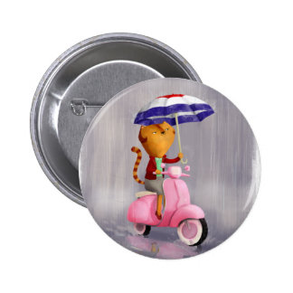 Classy Kitty Cat on pink scooter Buttons