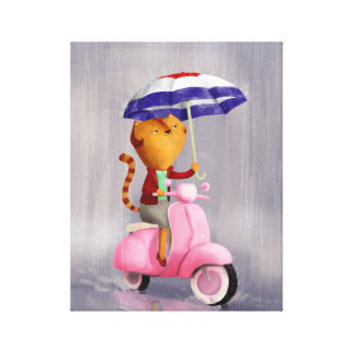Classy Kitty Cat on pink scooter Stretched Canvas Prints
