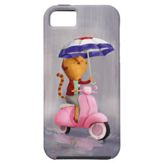 Classy Kitty Cat on pink scooter iPhone 5 Cases
