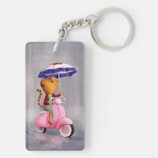 Classy Kitty Cat on pink scooter Double-Sided Rectangular Acrylic Keychain