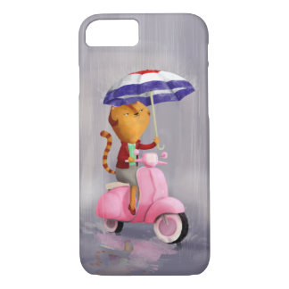 Classy Kitty Cat on pink scooter iPhone 7 Case