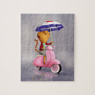 Classy Kitty Cat on pink scooter Jigsaw Puzzle
