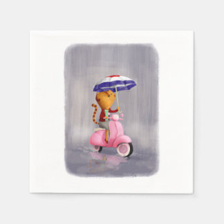 Classy Kitty Cat on pink scooter Napkin