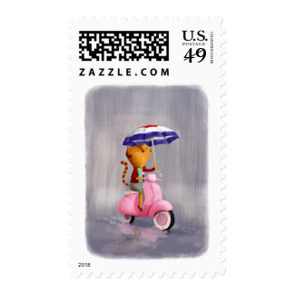 Classy Kitty Cat on pink scooter Postage Stamps