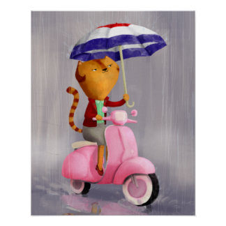 Classy Kitty Cat on pink scooter Poster