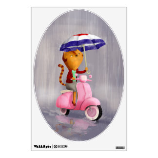 Classy Kitty Cat on pink scooter Wall Decal
