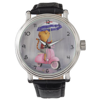 Classy Kitty Cat on pink scooter Wristwatch