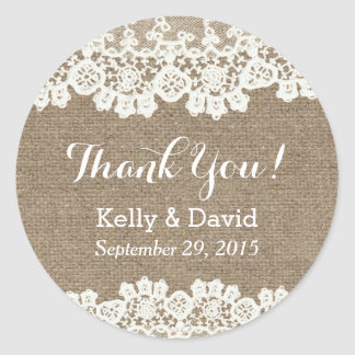 Classy Lace & Burlap Wedding Favor Stickers Round Sticker