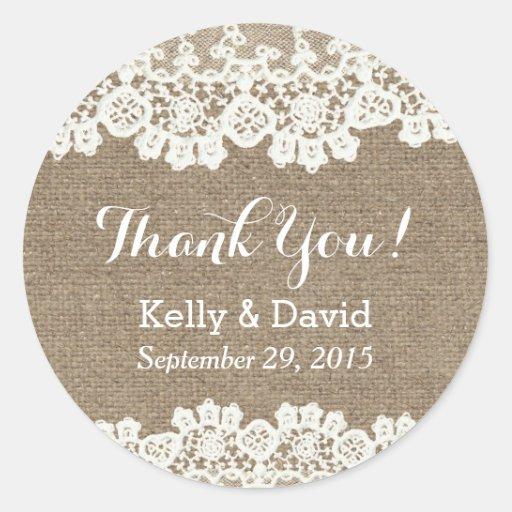 Classy lace burlap wedding favor stickers zazzle for Stickers for wedding favors