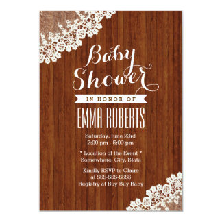Classy Lace Corner Wood Baby Shower Invitations
