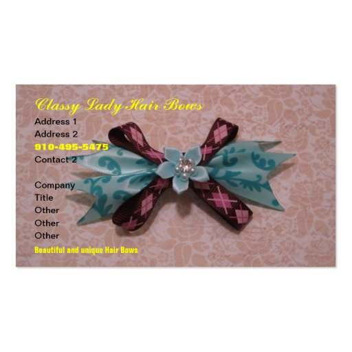 Classy Lady Hair Bows Business Cards