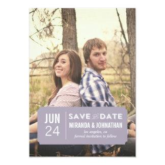 "Classy Lavender Photo Save The Date Announcements 5"" X 7"" Invitation Card"