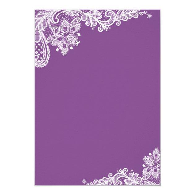 Classy Lavender Purple Modern Lace Bridal Shower Card (back side)