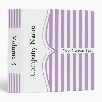 Classy Lavender Stripes 3 Ring Binder
