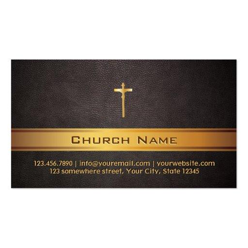 Classy Leather Gold Bar Church Business Card
