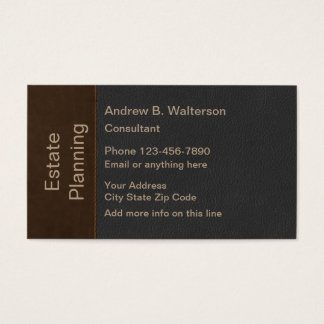Classy Leather Look Estate Planner Business Card