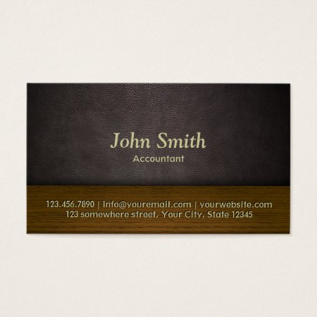 Classy Leather and Wood Accounting Business Card Template