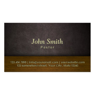 Classy Leather & Wood Pastor Business Card
