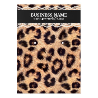 Classy Leopard Print & Lace Earring Holder Business Card Template