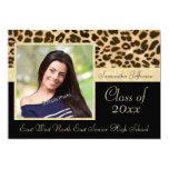 "Classy Leopard Print Photo Graduation Announcement 5"" X 7"" Invitation Card"