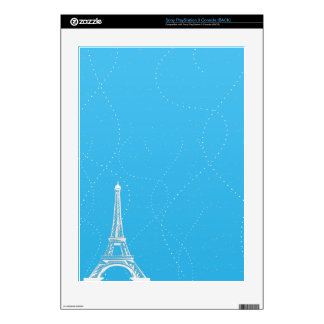 Classy Light Blue with Eiffel Tower Skins For PS3 Console