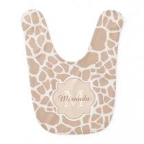 Classy Light Brown Giraffe Print Monogram and Name Baby Bib