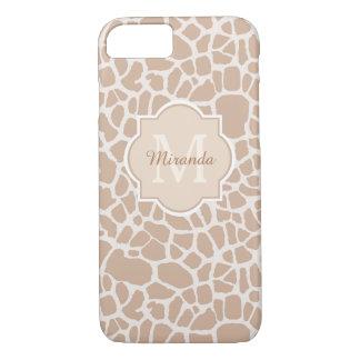 Classy Light Brown Giraffe Print Monogram and Name iPhone 8/7 Case