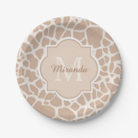 Classy Light Brown Giraffe Print Monogram and Name Paper Plate