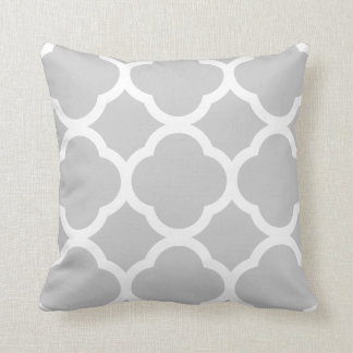 Classy Light Gray and White Quarterfoil Pattern Throw Pillow