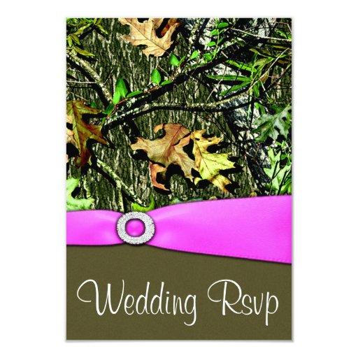 Classy Light Pink Hunting Camo Wedding RSVP Cards