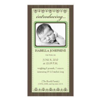 Classy Lime Green Customized Birth Announcement