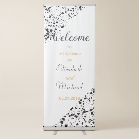 classy marble terrazzo monochrome wedding design retractable banner