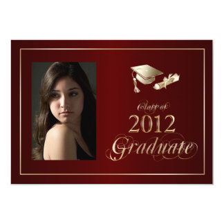 Classy Maroon and Gold 2012 Graduate Photo Invite