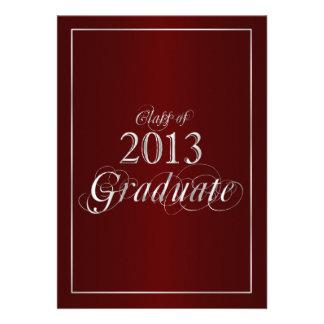 Classy Maroon and Silver 2013 Graduate Invitation