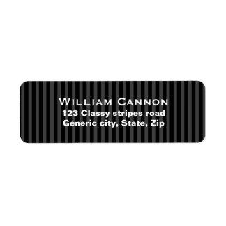 Classy masculine black and gray stripes custom return address label