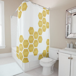 classy matte gold u0026 white hexagons geometric shower curtain