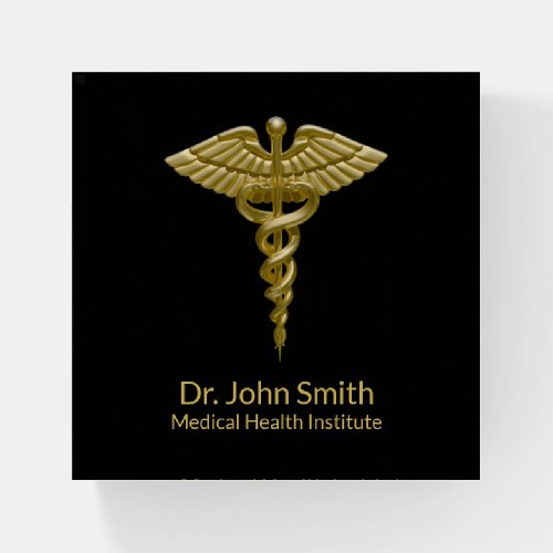 Classy Medical Gold Caduceus on Black Paperweight