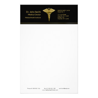 Classy Medical Gold Caduceus on Black - Stationery