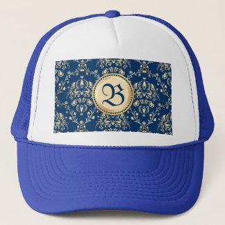 Classy Medieval Monogram Gold Midnight Blue Damask Trucker Hat
