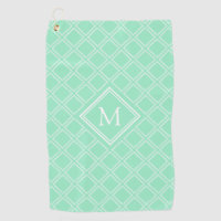 Classy Mint and White Diamond Pattern Monogram Golf Towel