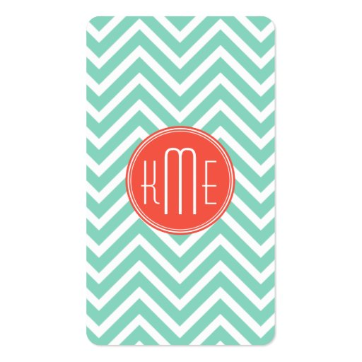 Classy Mint Green Chevron and Orange Monogram Business Card Template (back side)