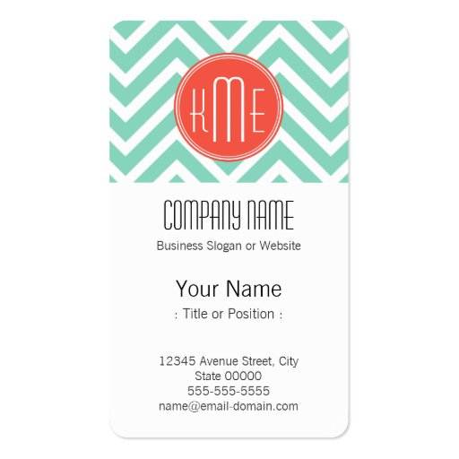 Classy Mint Green Chevron and Orange Monogram Business Card Template (front side)