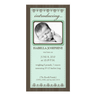 Classy Mint Green Customized Birth Announcement