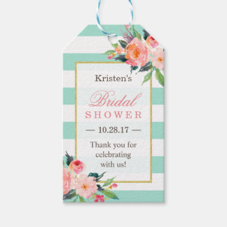 Classy Mint Green Floral Bridal Shower Thank You Gift Tags