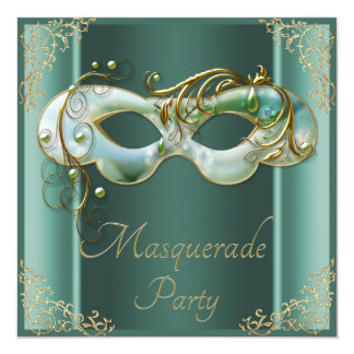 Classy Mint Green Gold Mask Masquerade Party Card
