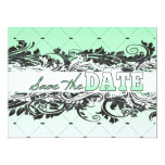 """Classy Minty and White Save The Date 6.5"""" X 8.75"""" Invitation Card"""