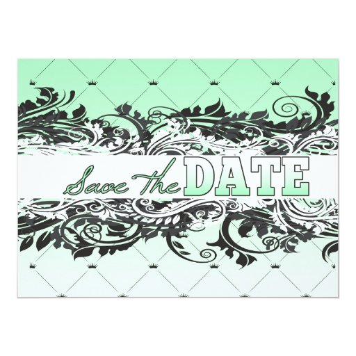 Classy Minty and White Save The Date 6.5x8.75 Paper Invitation Card