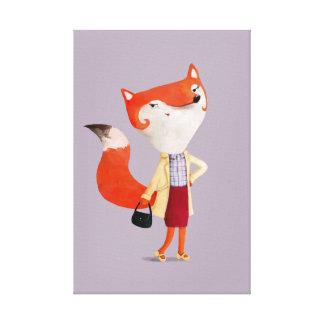 Classy Mod Fox Girl Canvas Print