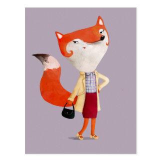 Classy Mod Fox Girl Postcard