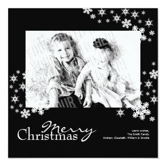 Classy Modern Black & White Photo Christmas Card